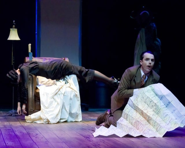 Annabella (Rebecca Dines) and Richard Hannay (Mark Anderson Phillips) in the uproarious Hitchcockian spoof, THE 39 STEPS at TheatreWorks. Photo credit: Mark Kitaoka