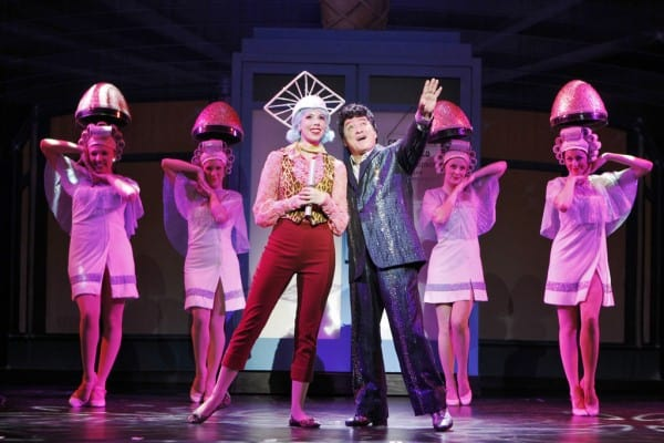 """Ashley Rubin as """"Frenchy"""" and Eddie Mekka as """"Teen Angel,"""" perform """"Beauty School Dropout in GREASE"""