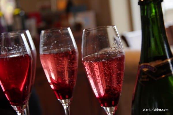 A colorful champagne celebration