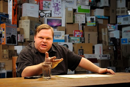 In The Last Cargo Cult at Berkeley Rep, master storyteller Mike Daisey spins an improbably true tale about our volcanic economy. Photo courtesy of kevinberne.com