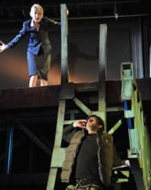 Hannah (Carrie Paff*) and David (Gabriel Marin*) face their fears on top of a bridge in the National New Play Network Rolling World Premiere of Collapse Photo by David Allen