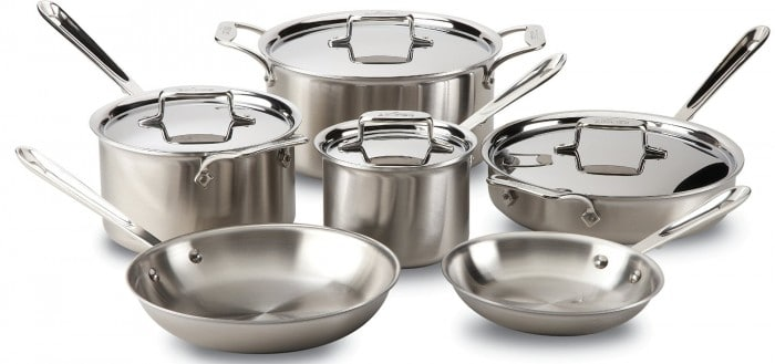 All-Clad BD005710-R D5 Brushed Stainless Steel 5-Ply Bonded Dishwasher Safe Cookware Set, 10-Piece, Silver