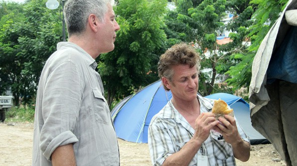 Anthony Bourdain and Sean Penn in Haiti