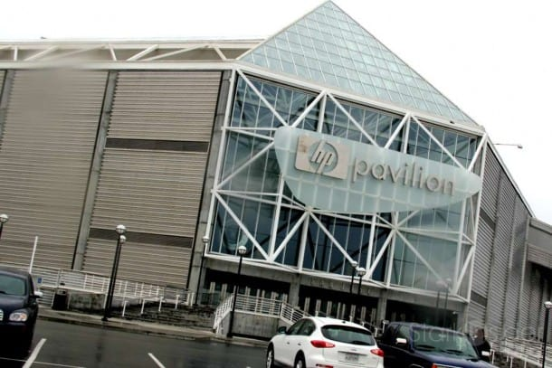 A rainy day at HP Pavilion in San Jose doesn't damper the enthusiasm of the Disney on Ice performers and crew.