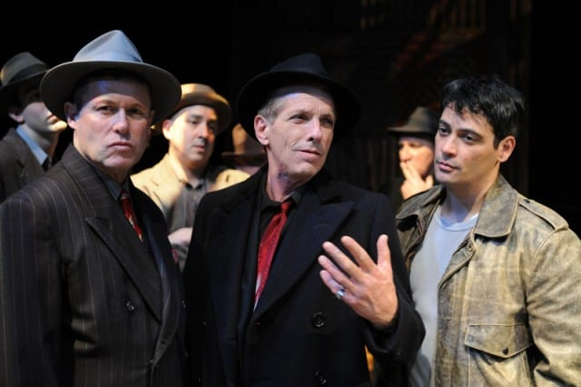 John Flanagan as Charlie the Gent, Randall King as Johnny Friendly and Johnny Moreno as Terry Malloy in SAN JOSE STAGE COMPANY'S ON THE WATERFRONT.