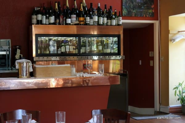 The wine system affords wider selection than a restaurant this size could normally offer.