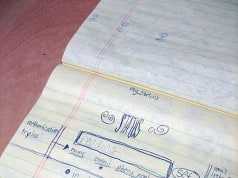 A blueprint sketch, circa 2006, by Jack Dorsey, envisioning an SMS-based social network.