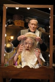 Norman (James Carpenter) helps Sir (Ken Ruta) with his wig in San Jose Repertory Theatre's The Dresser.