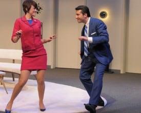 Alitalia air hostess Gabriella and Bernard twist the night away. Left - Right: Jessica Lynn Carroll, Liam Vincent