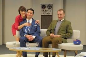 Lufthansa air hostess Gretchen shows Bertha how much she misses Bernard. Left - Right: Lynda DiVito,  Jennifer Erdmann