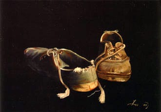Heidi's Shoes by Lee Hartman 1984 Oil on canvas, 24 x 36