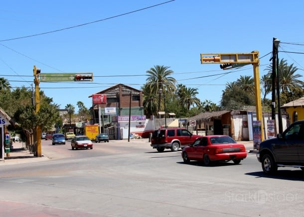Downtown Loreto has one traffic light. This is it. And, yes, it's always Red for me... not that I'm in any kind of rush.