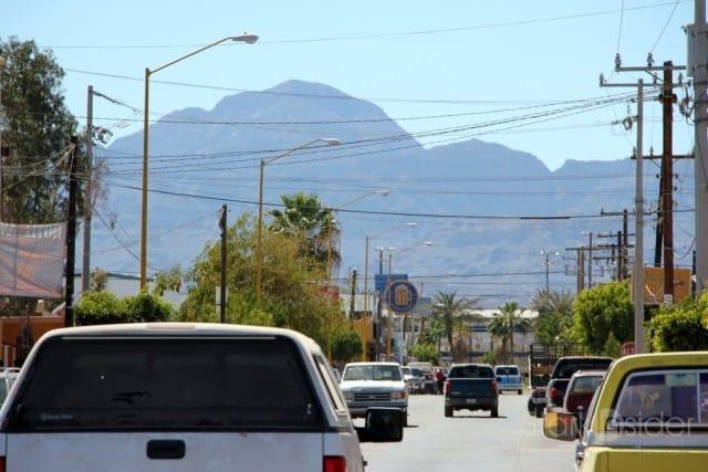 Downtown Loreto, Sierra de la Giganta in the distance.