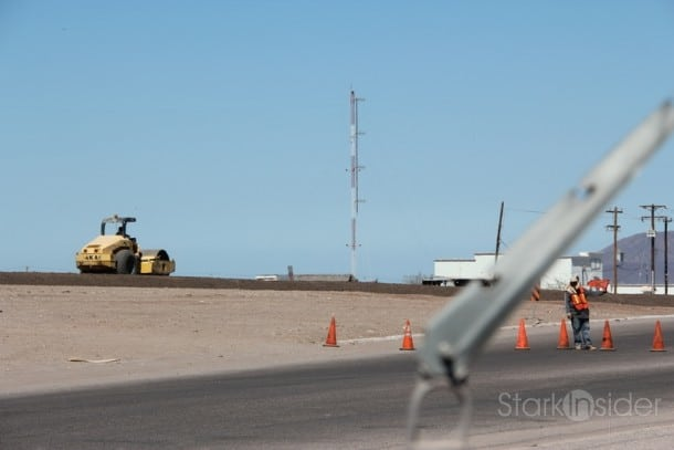 Construction project on HIghway 1 next to the entrance to Loreto is a good economic sign.