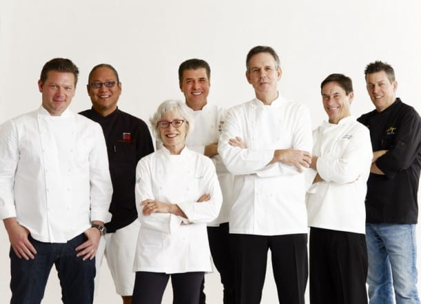 Napa Dream Team: L-R: Tyler Florence, Masaharu Morimoto, Cindy Pawlcyn, Michael Chiarello, Thomas Keller, Jeffrey Jake and Ken Frank.