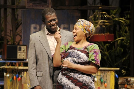 At Berkeley Rep, Oberon K.A. Adjepong (left) and Tonye Patano star in Ruined, a powerful new play by Lynn Nottage that won the Pulitzer Prize for Drama.