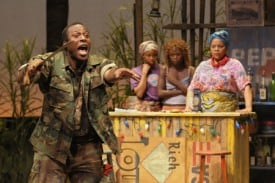 At Berkeley Rep, Wendell B. Franklin, Carla Duren, Zainab Jah and Tonye Patano star in Ruined, a powerful new play by Lynn Nottage that won the Pulitzer Prize for Drama. Photo courtesy of kevinberne.com