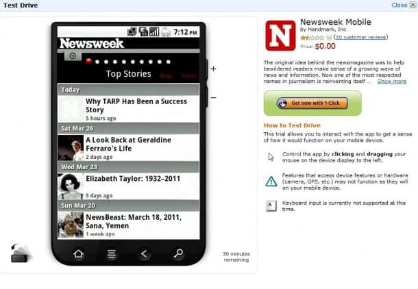 Test Drive - preview Android apps before buying.