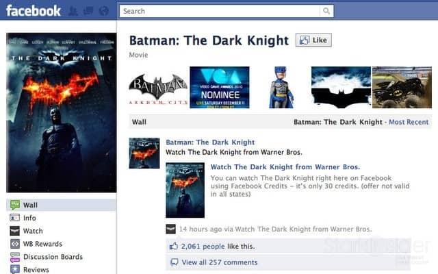 The Dark Knight on Facebook