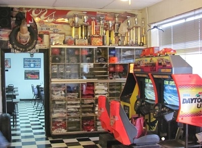 Nascar memorabilia at Dawsonville Pool RAoom
