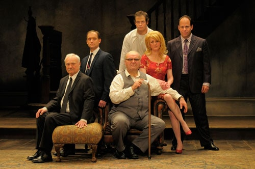 The family portrait (from left: Kenneth Welsh as Sam, A.C.T. core acting company member Anthony Fusco as Teddy, A.C.T. core acting company member Jack Willis as Max, Adam O'Byrne as Joey, A.C.T. core acting company member René Augesen as Ruth, and Andrew Polk as Lenny). Photo by Kevin Berne.