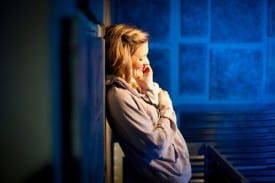 Juliet (Luisa Frasconi) ponders her new love from her balcony in the Russian Mafia-themed Romeo and Juliet at Impact Theatre