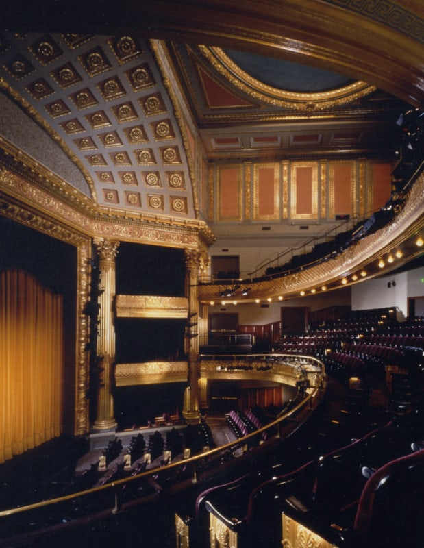 The interior of the Geary Theater in 1996, after renovations are complete. The $28.5 million capital campaign is the largest undertaken by an American regional theater.