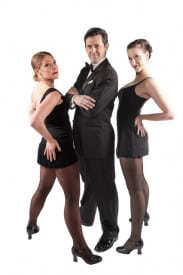 Shannon Self vamps as chorine Roxie Hart, Michael Mulcahy mugs as slick lawyer Billy Flynn and Mary Kalita is vaudevillian Velma Kelly in the Marquee Production of Chicago.
