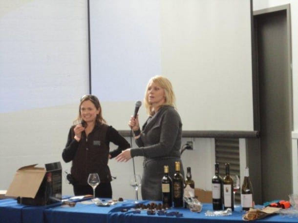 TV hosts Andrea Zimmer and Leslie Sbrocco conduct a fascinating session on pairing not only red wines but also white wines with chocolate and other decadent combinations.