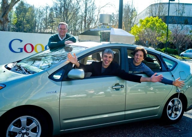 Eric, Larry and Sergey in a self-driving car.