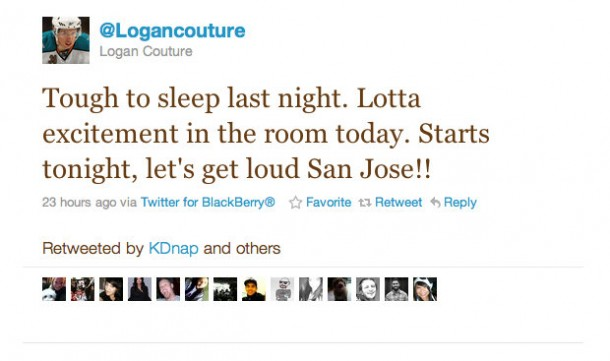 Logan Couture's pre-game Tweet - good luck charm #1.