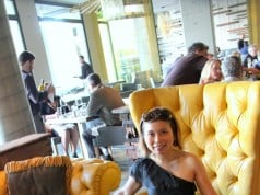 Loni and the Morimoto Yellow Chair