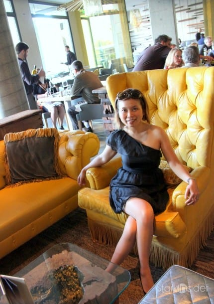 Loni and the Morimoto Yellow Chair