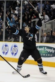 Joe Pavelski celebrates his game-winning OT goal in style. San Jose Sharks lead series 1-0. Photo by Thearon W. Henderson/Getty Images).