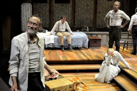 James Carpenter, Thomas Jay Ryan, Heather Wood and Bruce McKenzie perform Sarah Ruhl's new adaptation of Three Sisters at Berkeley Rep. Photo courtesy of mellopix.com