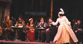 Daniel Cilli, Isaiah Musik-Ayala, Jasmina Halimic, Alexander Boyer, Torlef Borsting and Sandra Bengochea in Opera San José's La bohème. Photo by Pat Kirk.