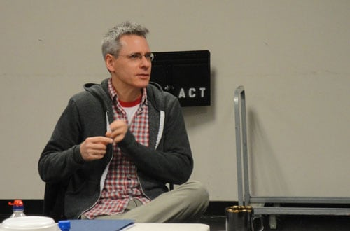 Playwright Bruce Norris speaks at the first rehearsal for Clybourne Park. Photo by Evren Odcikin.