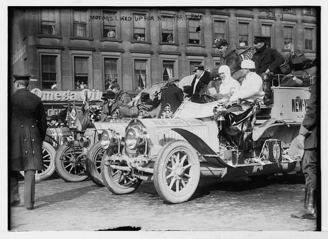 Cars lined up for the start of the