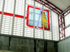 Gordon Huether: Bay Area Rapid Transit (BART), 2002, 2 murals @ 15'h x 15'w, Glass, San Mateo, CA.,