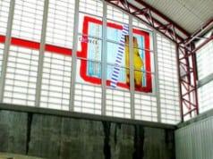 Gordon Huether: Bay Area Rapid Transit (BART), 2002, 2 murals @ 15'h x 15'w, Glass, San Mateo, CA.,