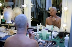 Actor Steven Epp gets ready for a show at the Tony Award-winning Berkeley Repertory Theatre. Photographer: Cheshire Isaacs.