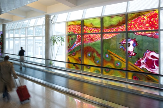 Gordon Huether: Houston Hobby Airport, 2009, 6 Bays - 20'w x 12'h, Glass, Houston, TX.