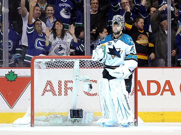 San Jose Goaltender Antti Niemi gave another strong performance, but it wasn't enough as the Vancouver Canucks game back to beat the San Jose Sharks in Game 1 of the Western Conference final.