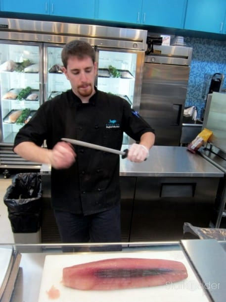 Kevin does his thing - is there anything better than watching savory fresh fish prepared before your very eyes?