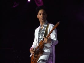Prince playing at Coachella 2008.