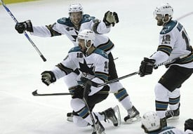 Setoguchi celebrates OT game winner thanks to an end-to-end effort from Jumbo Joe.