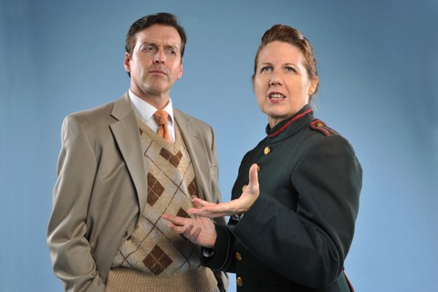 Ninotchka (Lee Ann Payne) explains the Communist theory of romance to a skeptical Steve Canfield (Ian Simpson) in the song 'It's a Chemical Reaction, That's All.' from 42nd Street Moon's production of Cole Porter's SILK STOCKINGS. Photo by DavidAllenStudio.com.