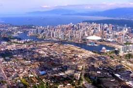 Vancouver from a float plane, looking west.
