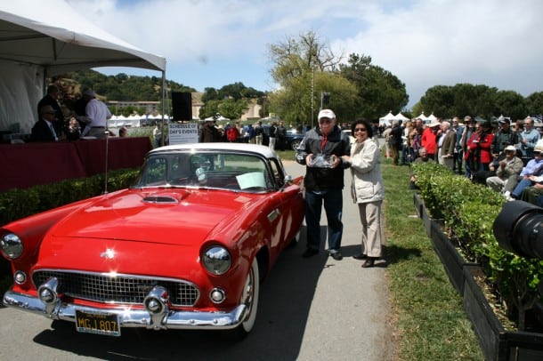 Hospice By The Bay (Larkspur) CEO Sandra Lew, the non-profit beneficiary of the annual show and exhibition, presents the Spirit of Caring award to Novato resident Gus Stremme, for his 1955 Ford Thunderbird.