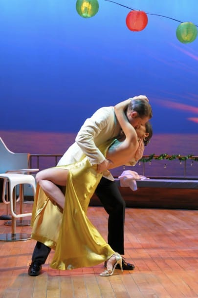 Edward (Craig Marker) and Lyonee (Zarah Mahler) steal an intimate moment before the festivities in San Jose Rep's world premiere of Love in American Times.